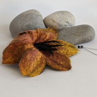 Large felted flower brooch - autumnal golds