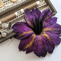 Large felted flower brooch - purple