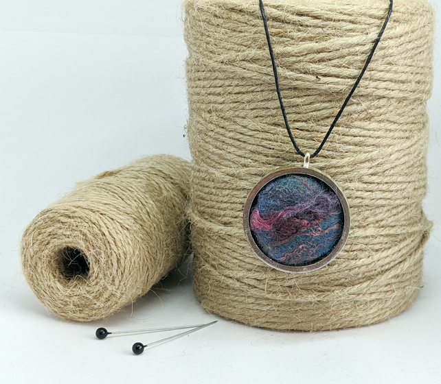 Felted pendant - blues and pinks in silver bezel