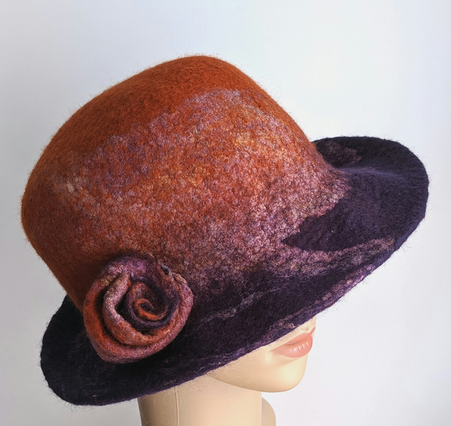 Purple and rusts felted wool hat - One of the 'Squashable' range