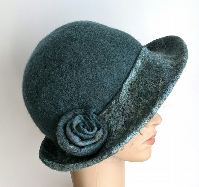 Dark duck egg felted wool hat  - One of the 'Squashable' range