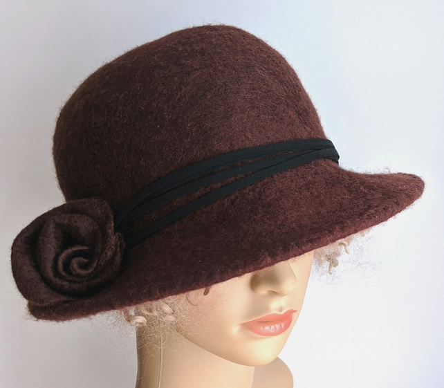 Chocolate brown felted wool bowler inspired hat