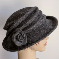 Tweed grey felted wool hat - 'The Crush' - designed to pack flat