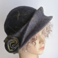 Grey and Yellow sculpted felted wool hat  - the prototype of a new design