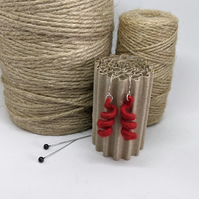 Felted earrings - red coils