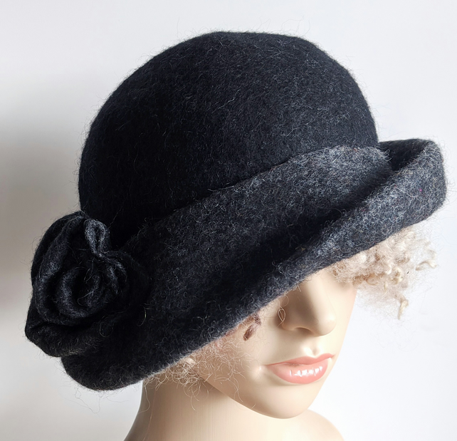 Tweedy grey and black felted wool hat - One of the 'Squashable' range