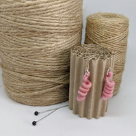 Felted earrings - baby pink coils