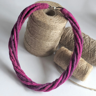 The Small Twist: felted cord necklace in shades of pinky purple