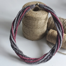The Small Twist: felted cord necklace in shades of grey and deep pinks