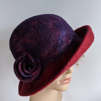 Aubergine and red felted wool hat - One of the 'Squashable' range