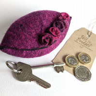Wet felted Pod Purse: Fuchsia (L)