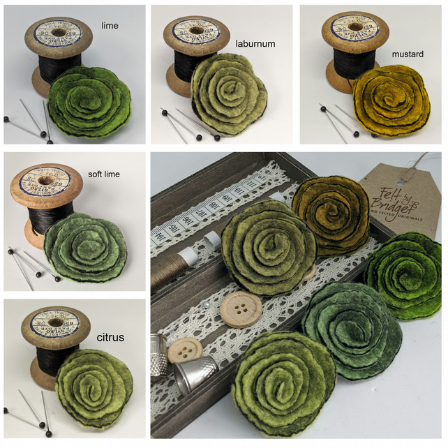 Art deco inspired rose brooch - the green selection
