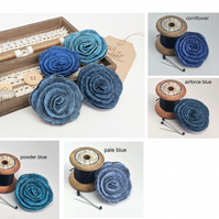 Art deco inspired rose brooch - the blue selection