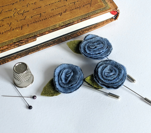 Art deco inspired rose lapel pin or brooch - pale blue