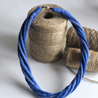 The Small Twist: felted cord necklace in shades of denim blue