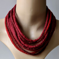 Felted cord necklace in shades of deep red