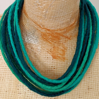 Felted cord necklace in shades of jade