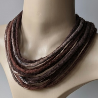 Felted cord necklace in shades of brown