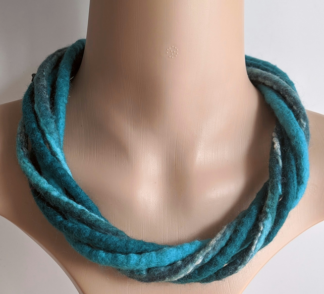 For Janet ..The Chunky Twist: felted cord necklace in shades of teal