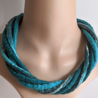 The Chunky Twist: felted cord necklace in shades of teal