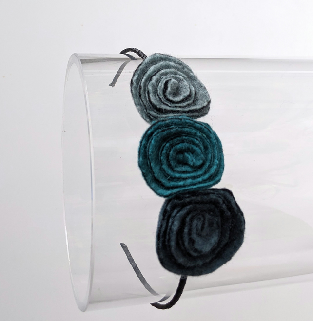 Flower hair band: duck egg art deco roses