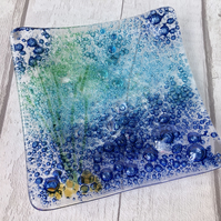 Blue Fused glass dish