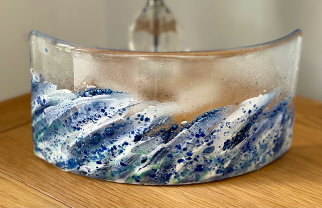 Fused glass curved wave