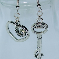 Key to my heart dangly Tibetan silver earrings