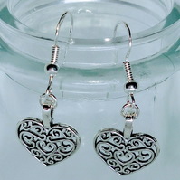 925 silver, Tibetan silver love heart earrings