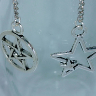 Tibetan silver Star dangly earrings 925 hooks
