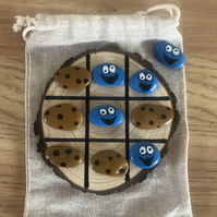 Cookie Monster Tic Tac Toe painted rocks game