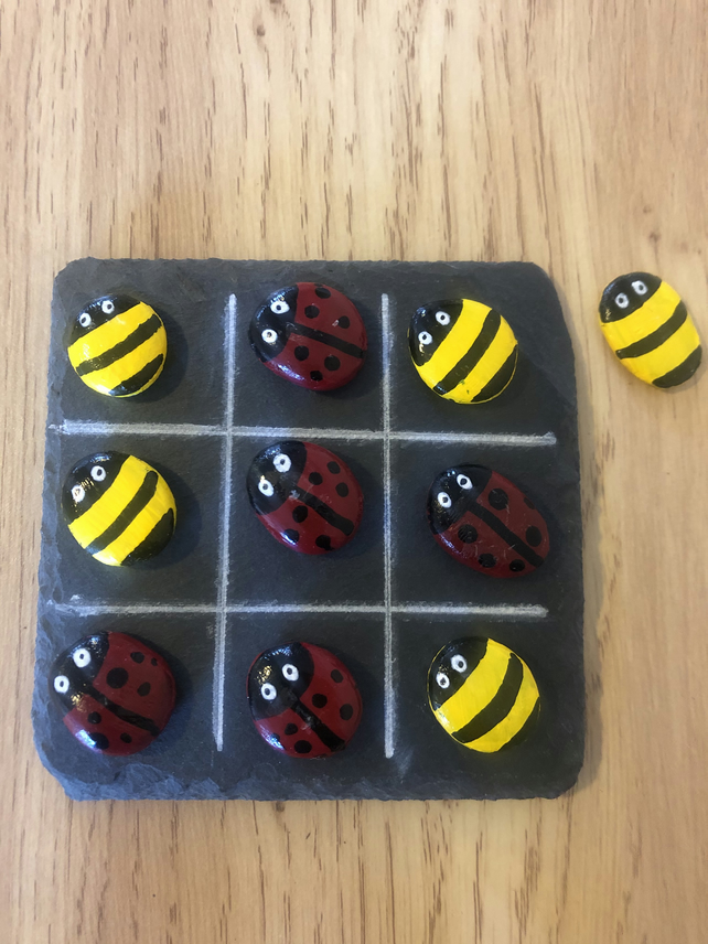 Ladybird and Bumble Bee Tic Tac Toe painted rocks game