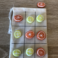 Oranges and Lemons Tic Tac Toe painted rocks game