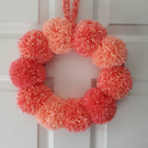 Coral and Pink Pom Pom Wreath 30cms