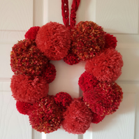 Autumn Red and Brown Pom Pom Wreath 30cms