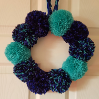 Turquoise and Blue Pom Pom Wreath 30CMS
