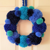 Blues Pom Pom Wreath 34cms -13 Inches