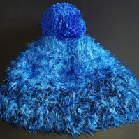 Crochet Chunky Blue and Navy Bobble Hat