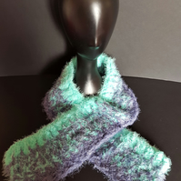 Mint Green and Grey Chunky Crochet Scarf
