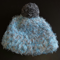 Light Blue and Grey Chunky Crochet Bobble Hat