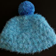 Turquoise and Light Blue Chunky Crochet Bobble Hat