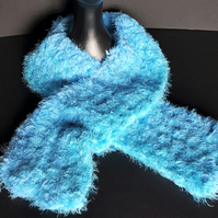 Turquoise and Light Blue Chunky Crochet Scarf