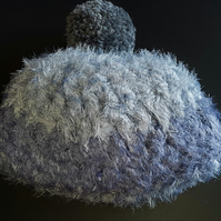 Grey and Light Grey Chunky Crochet Bobble Hat