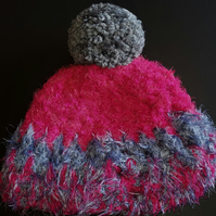 Dark Pink and Grey Chunky Crochet Bobble Hat
