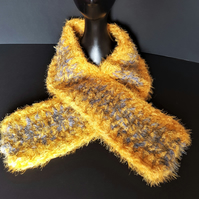 Mustard and Grey Chunky Crochet Scarf