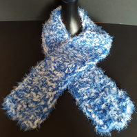 Blue and White Chunky Crochet Scarf