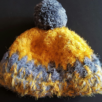 Mustard and Grey Chunky Crochet Bobble Hat