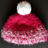 Dark Pink and White Chunky Crochet Bobble Hat