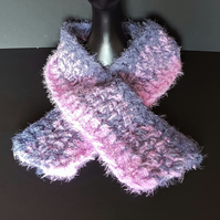 Light Purple and Grey Chunky Crochet Scarf