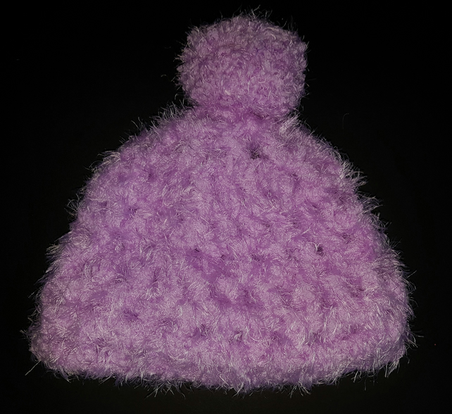 Purple Chunky Crochet Bobble Hat